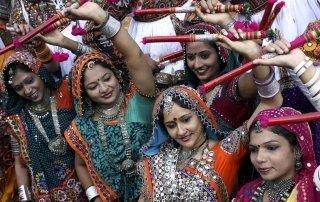 Navratri festival, Vadodara, India. Наваратри - праздник девяти ночей, Индия.